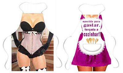 Avental corselet rosa e nascida para gastar