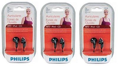 Fone de ouvido Philips intra auricular – 3 unidades