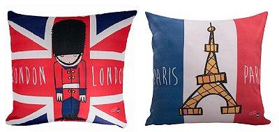 Capa de almofada Londres e Paris - 2 unidades