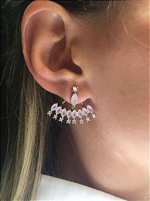 Brinco ear jacket quartzo rosa luxo