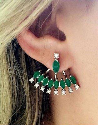 Brinco ear jacket esmeralda leitosa semi jóia