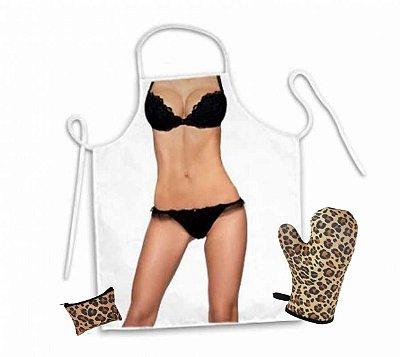 Avental corpo lingerie e luva de cozinha oncinha