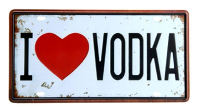 Placa de metal i love vodka