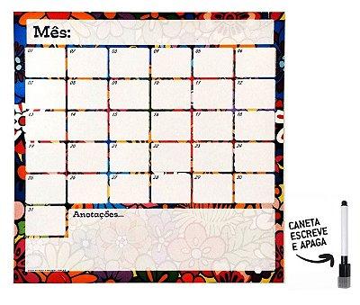 Lousa magnética calendário flores