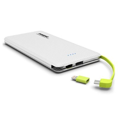 Carregador portátil slim 10000mah powerbank Pineng PN-951 com 2 USB Branco