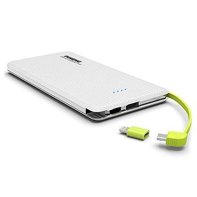 Carregador portátil slim 10000mah powerbank Pineng PN-951 com 2 USB cor Branco