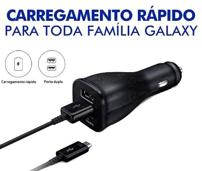 Carregador veicular Dual Samsung Fast Turbo Power 30W