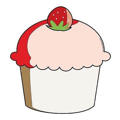 Imã de geladeira cupcake morango