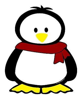 Imã de geladeira pinguim cachecol vermelho