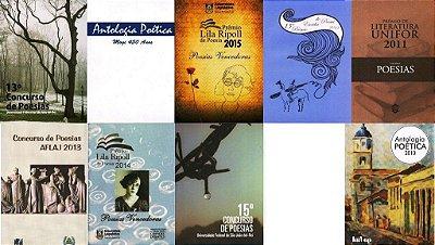 Conjunto com 9 livros de poesia - várias antologias
