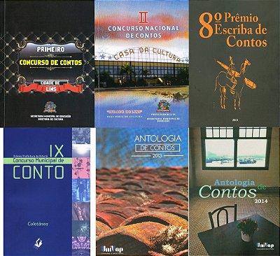 Conjunto com 6 livros de contos - antologias diversas