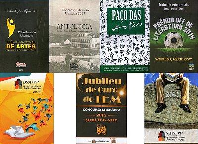 Conjunto com 7 livros de Poesia e Prosa - Antologias diversas
