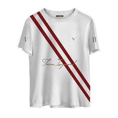 Camiseta Masculina Valparroci Faixa Imperial 'Majestade 17' Branca