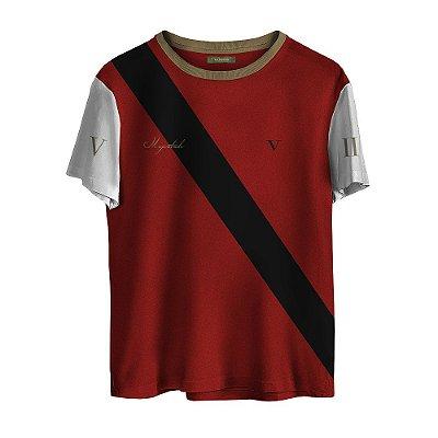 Camiseta Masculina Valparroci Faixa Imperial 'Majestade 17' Vermelha