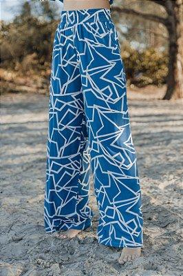 Wide Leg Gráfica Azul