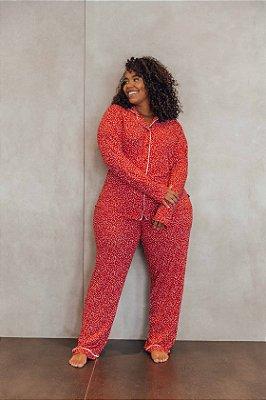 Pijama Manga Longa Corações Vermelho