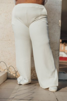 Wide Leg Malha Jacquard Off