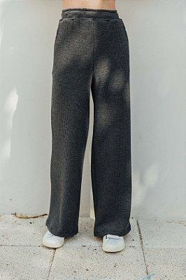 Wide Leg Malha Jacquard Cinza