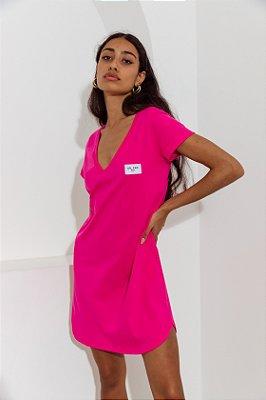 Vestido Decote V Curto Rosa