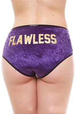 Calcinha Alta/Hot Pants Veludo Roxo Flawless