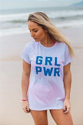 Camiseta Feminina GRL PWR Branca/Azul
