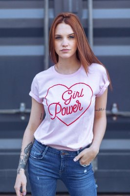 Camiseta Feminina Girl Power Vintage Rosa