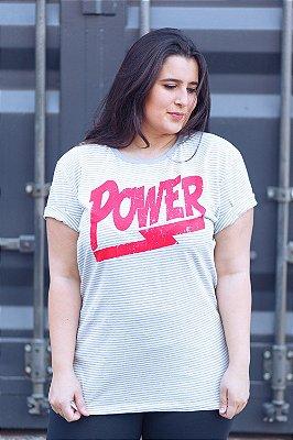 Camiseta Feminina Power Listrada Cinza