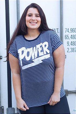 Camiseta Feminina Power Listrada Azul