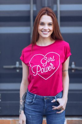 Camiseta Feminina Girl Power Vintage Pink