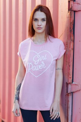 Camiseta Feminina Girl Power Vintage Rosê