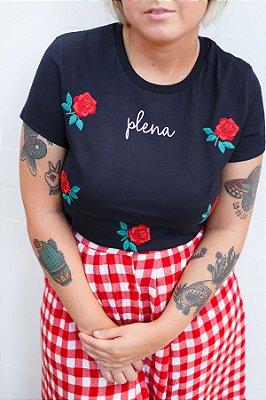 Camiseta Feminina Plena Bordada Preta