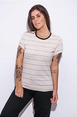 Camiseta Feminina Listrada Marfim