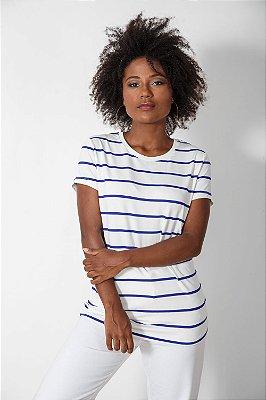 Camiseta Feminina Viscose Listrada Azul Royal