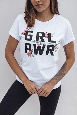 Camiseta Feminina GRL PWR Bordada Branca