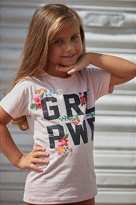 Camiseta Infantil GRL PWR Bordada Rosa