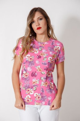 Camiseta Feminina Hibisco Rosa