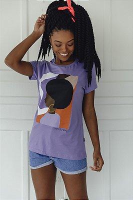 Camiseta Feminina Retrato Lilás