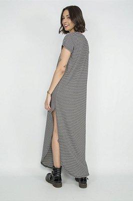 Vestido Longo Listrado Gola Mescla
