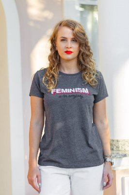 Camiseta Feminina Cinza Feminism
