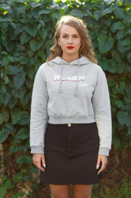 Moletom Cropped Mescla Women Can
