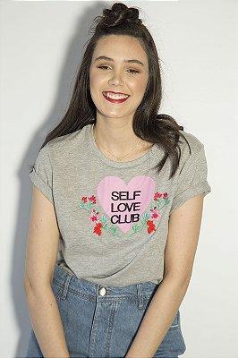 Camiseta Feminina AMOR PRÓPRIO Bordada Mescla