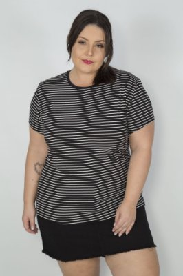 Camiseta Feminina Viscose Listrada Preta e Branca