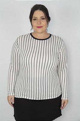 Camiseta Feminina Manga Longa Listra Vertical