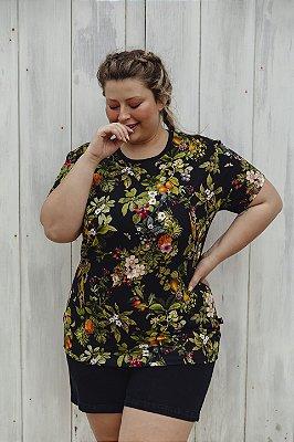 Camiseta Feminina Floral Tropical Dark