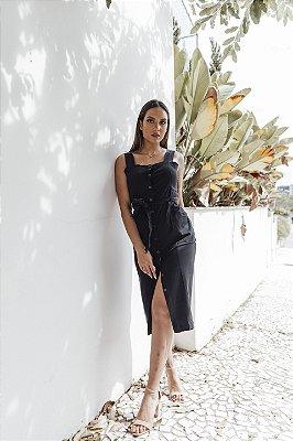 Vestido Alfaiataria Midi Luana Preto