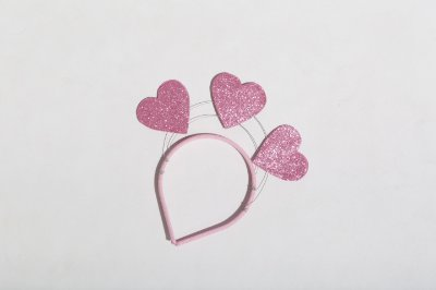 Tiara Carnaval Corações Rosa