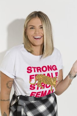Camiseta Feminina Strong Female Leopardo Branca