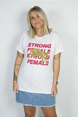 Camiseta Feminina Strong Female Leopardo Branca