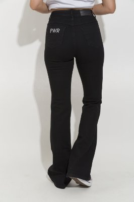 Calça  Jeans Flare Larissa Preta Para ALTAS