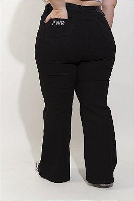 Calça  Jeans Flare Larissa Preta Para BAIXAS